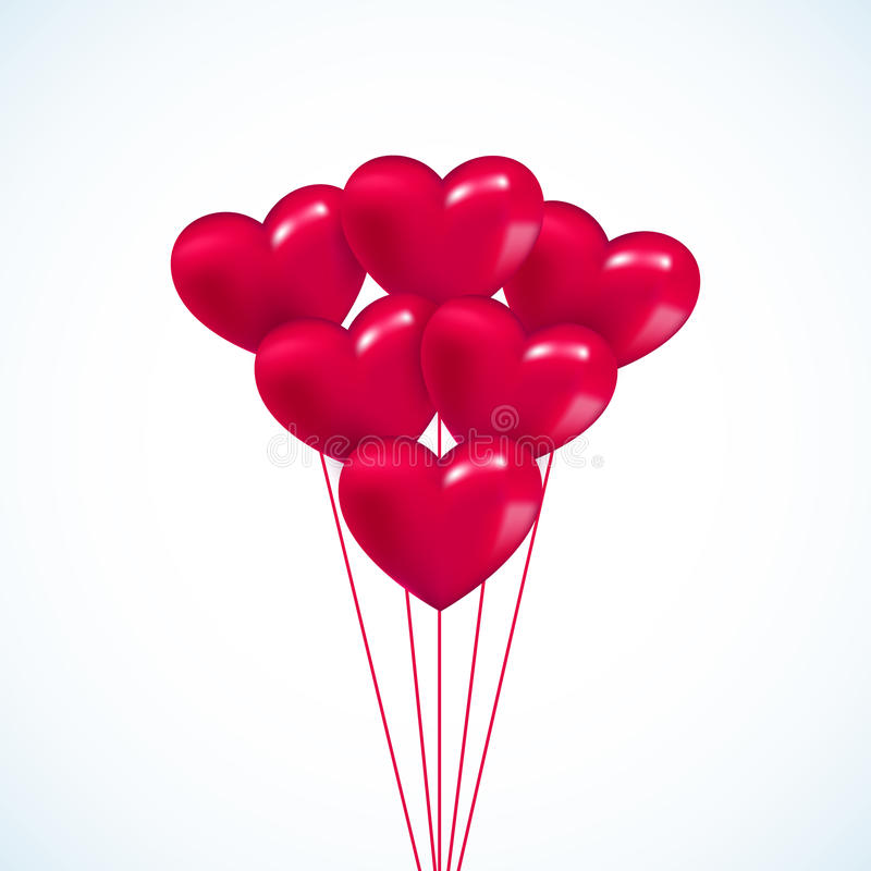 Le coeur rose Valentine monte en ballon le fond illustration de vecteur