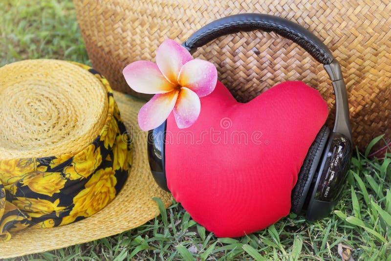 Le coeur rouge écoutent la musique par l'intermédiaire de l'écouteur avec le frangip rose de fleur images libres de droits