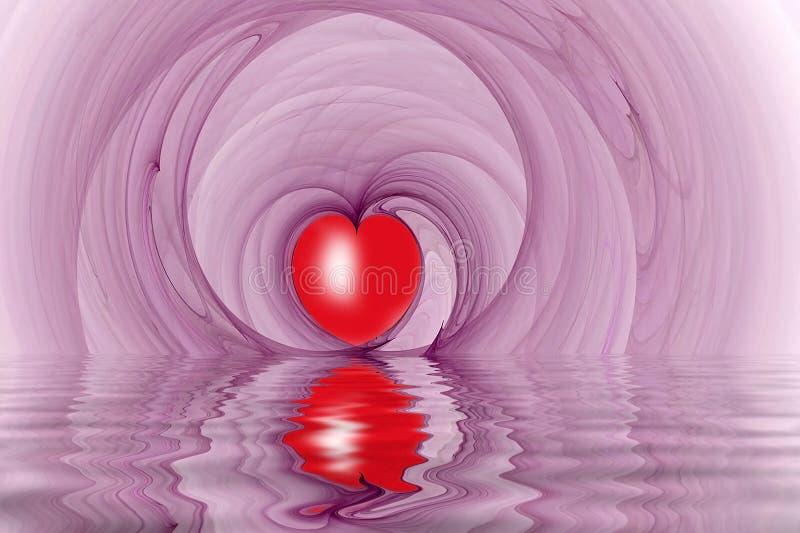 Le coeur rouge forme la fractale reflétée illustration stock