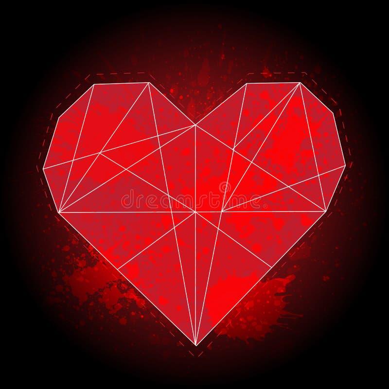 Le coeur rouge géométrique d'origami sur le fond noir avec l'aquarelle éclabousse illustration stock
