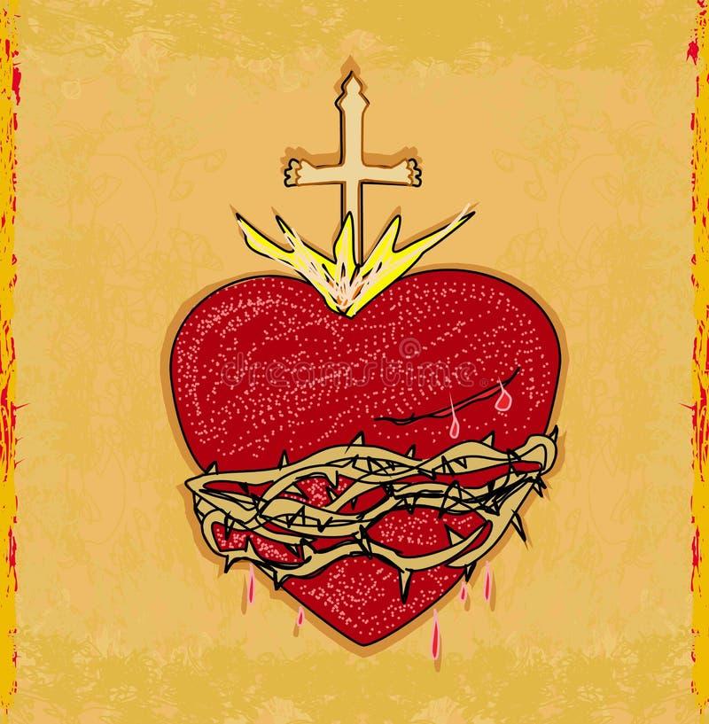 Le coeur sacré de Jésus sur le fond grunge illustration libre de droits