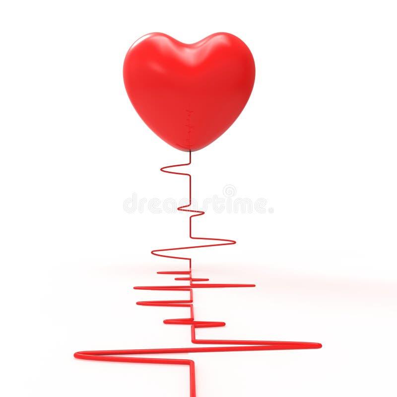 Le coeur sur l'électro montre l'amour passionné et illustration libre de droits