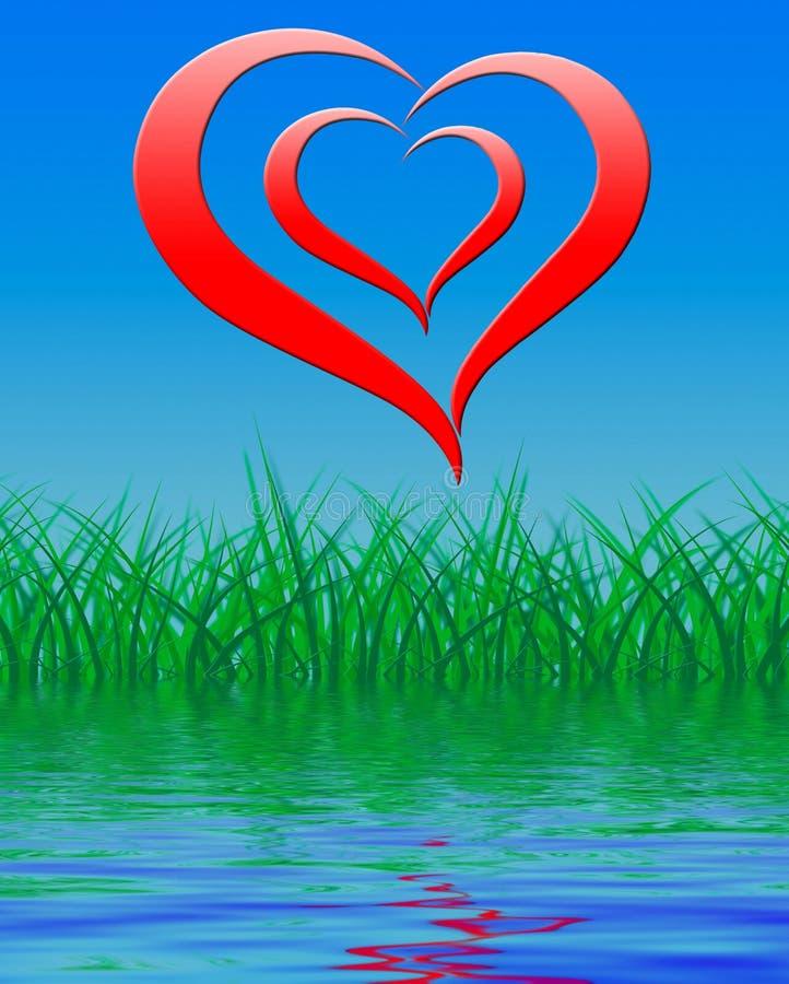 Le coeur sur le fond montre l'amour et la passion Romance illustration stock