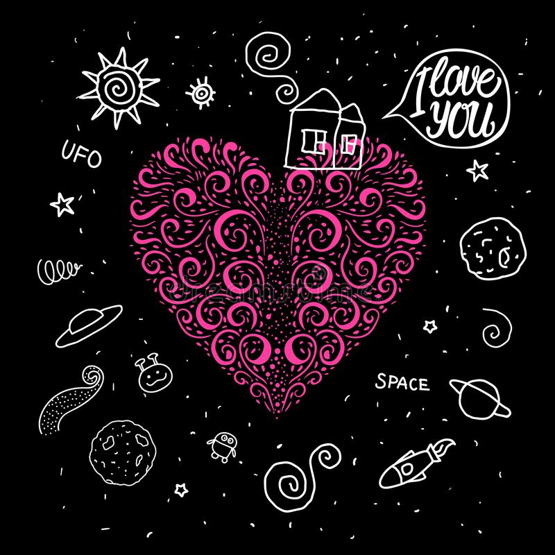 Le coeur tiré par la main de vecteur se courbe dans le thème de l'espace Maison douce de griffonnage et autour d'univers de l'esp illustration de vecteur