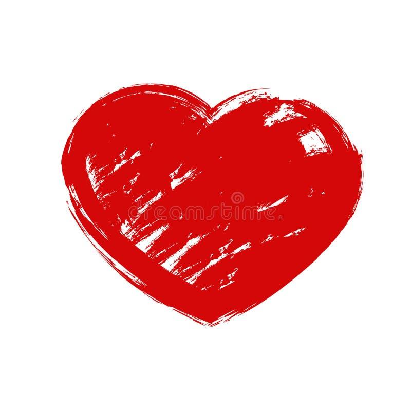 Le coeur tiré par la main grunge rouge avec éclabousse et les courses de brosse Symbole de l'amour et du jour de la valentine s illustration libre de droits