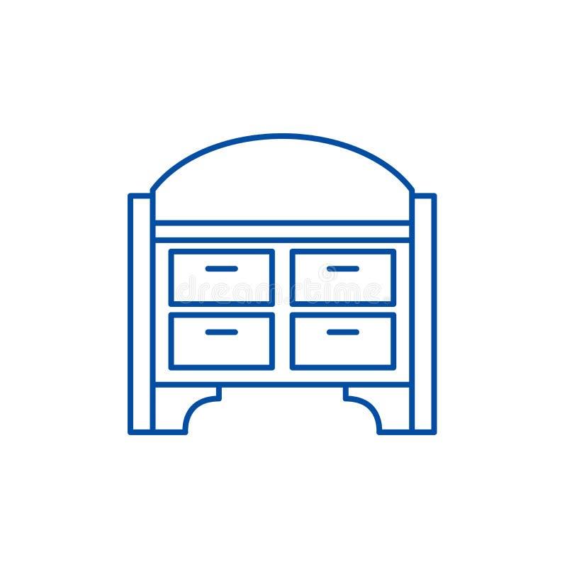 Le coffre des tiroirs rayent le concept d'icône Coffre de symbole plat de vecteur de tiroirs, signe, illustration d'ensemble illustration libre de droits