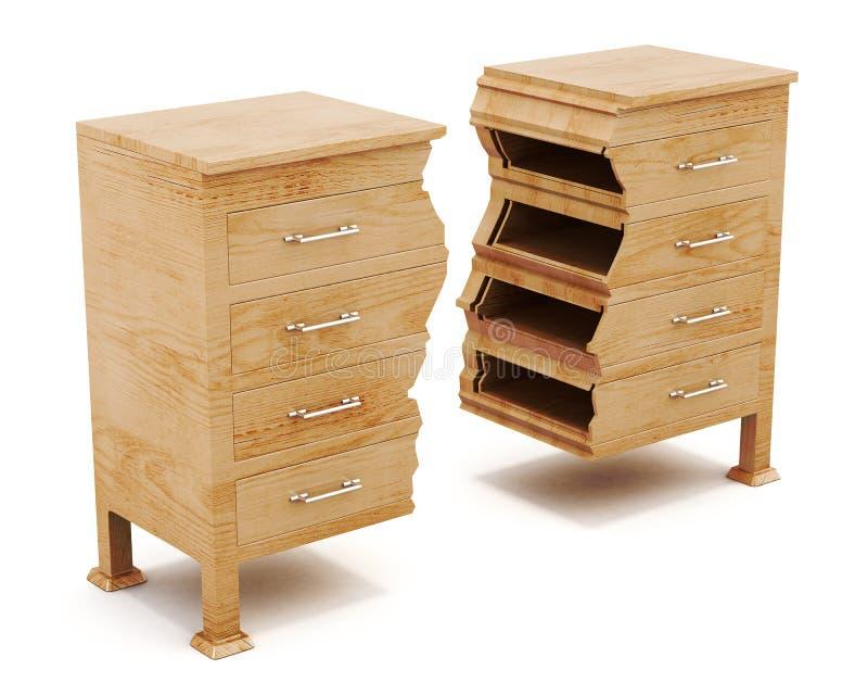 Le coffre en bois est divisé en morceaux sur le fond blanc illustration de vecteur