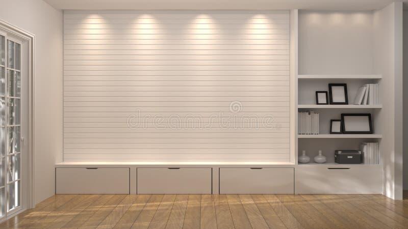 Le coffret réglé des meubles intégrés TV dans la maison en bois de plancher de chambre d'illustration intérieure vide du fond 3d  illustration stock