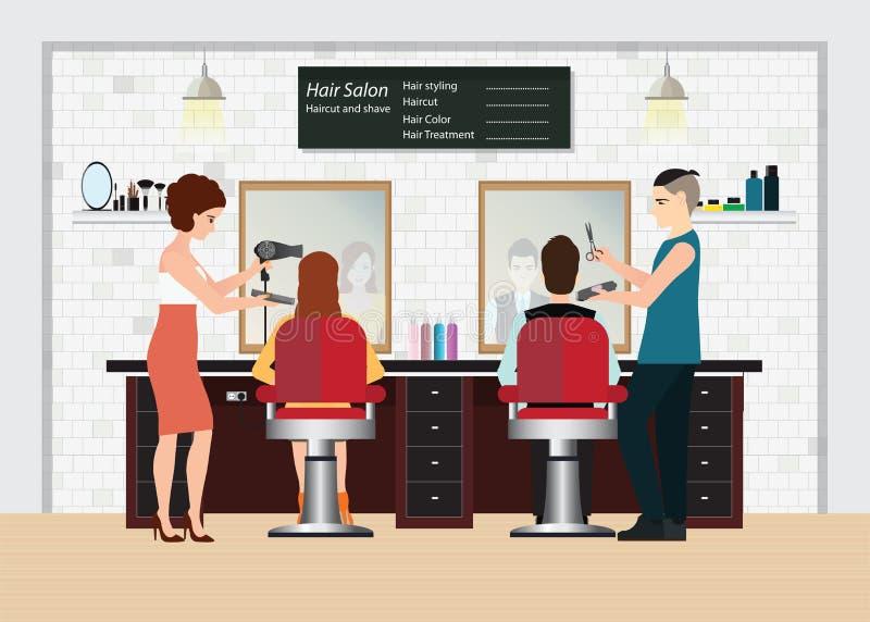 Le coiffeur coupe des cheveux du client s dans le salon de beauté illustration libre de droits