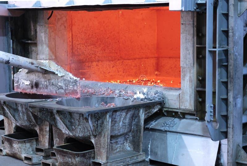 Le colate di industria della lavorazione dell'alluminio funziona immagini stock