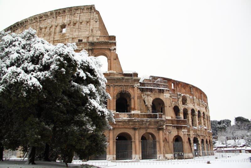 Le Colisé couvert par la neige image libre de droits