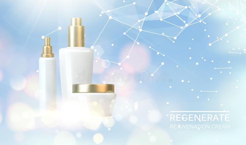 Le collagène régénère la conception de l'avant-projet crème Bouteilles de lotion cosmétique et pot de crème Soins de santé de fem illustration stock