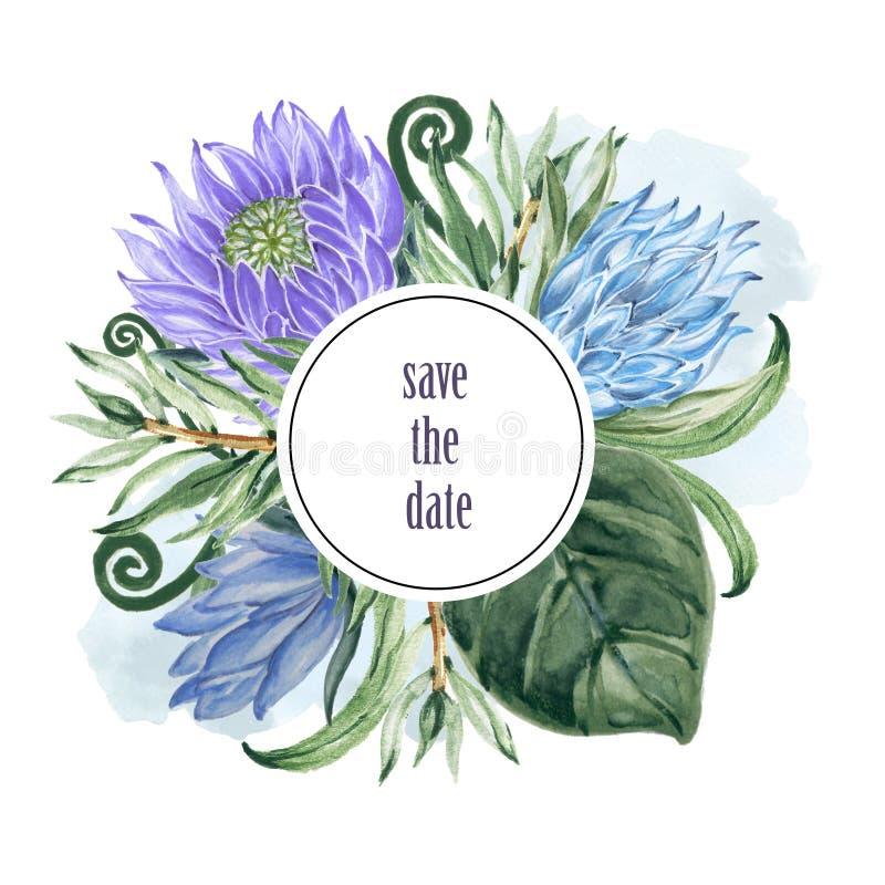 Le collage botanique avec le protea et le vert de roi part du wre de branches illustration libre de droits