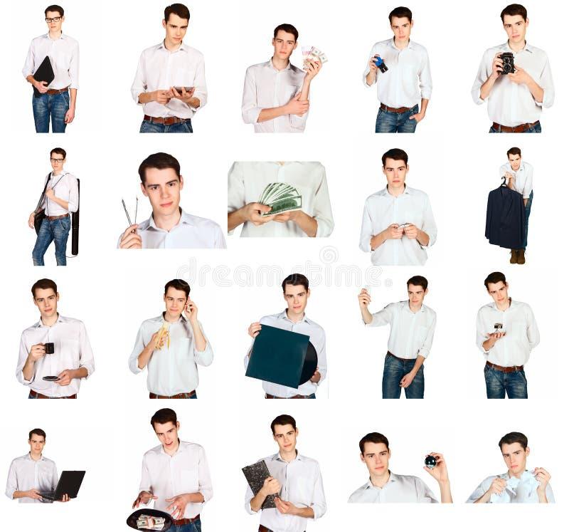 Le collage d'un jeune homme avec le bureau objecte photographie stock libre de droits