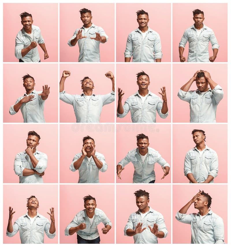 Le collage de différents expressions du visage, émotions et sentiments humains photos libres de droits