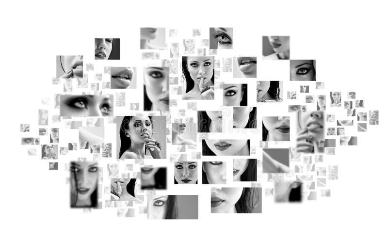 Le collage de la belle fin de visage de femme se lève image libre de droits