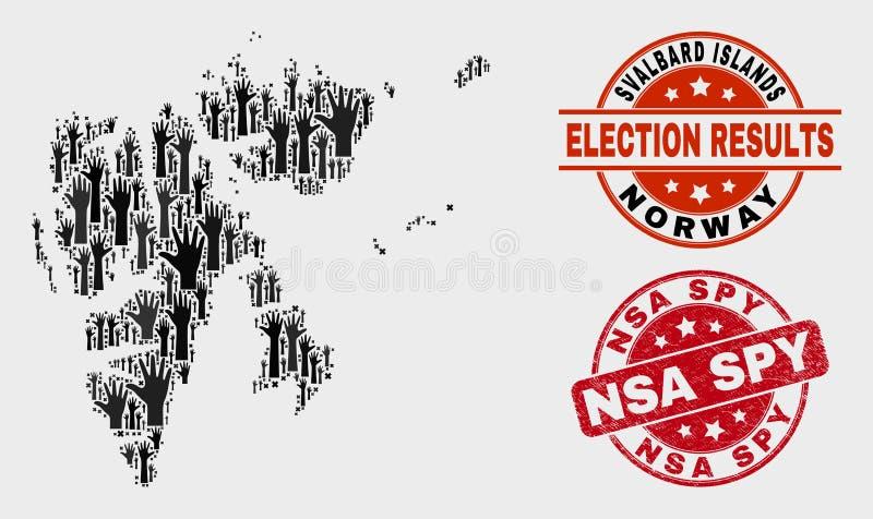 Le collage de voter des îles du Svalbard tracent et affligent le joint d'espion de NSA illustration libre de droits