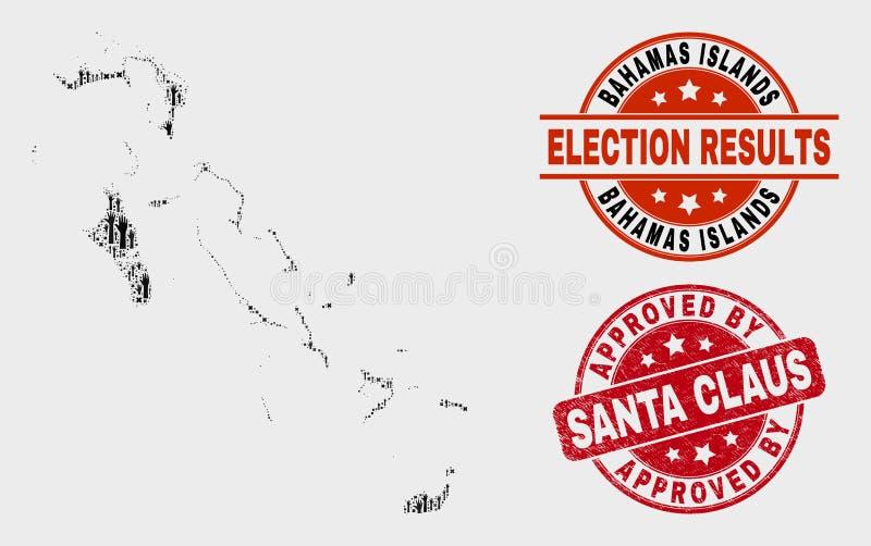 Le collage des îles des Bahamas de scrutin tracent et grunge approuvé par Santa Claus Watermark illustration de vecteur