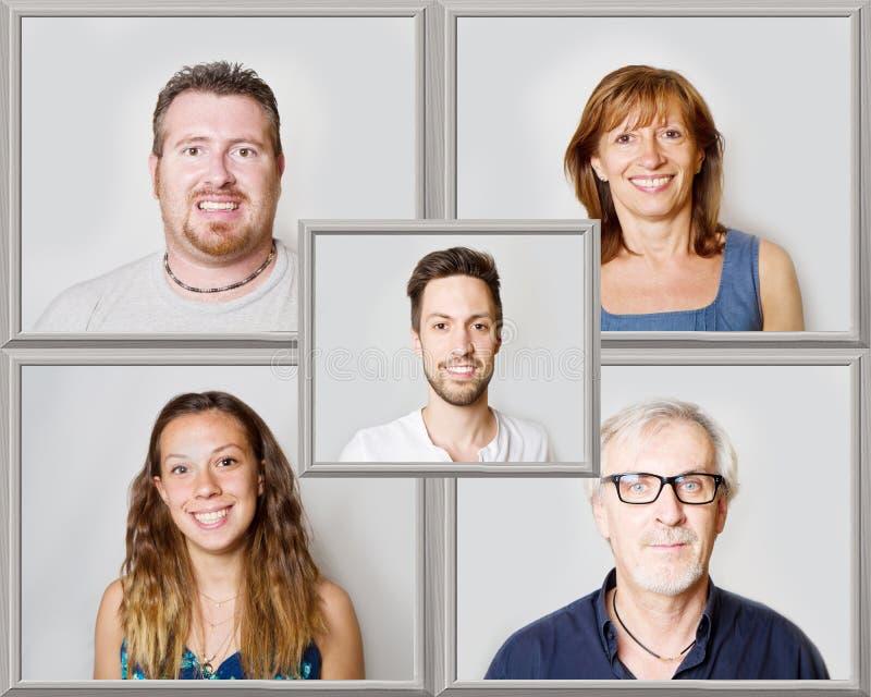 Le collage des personnes de sourire images libres de droits