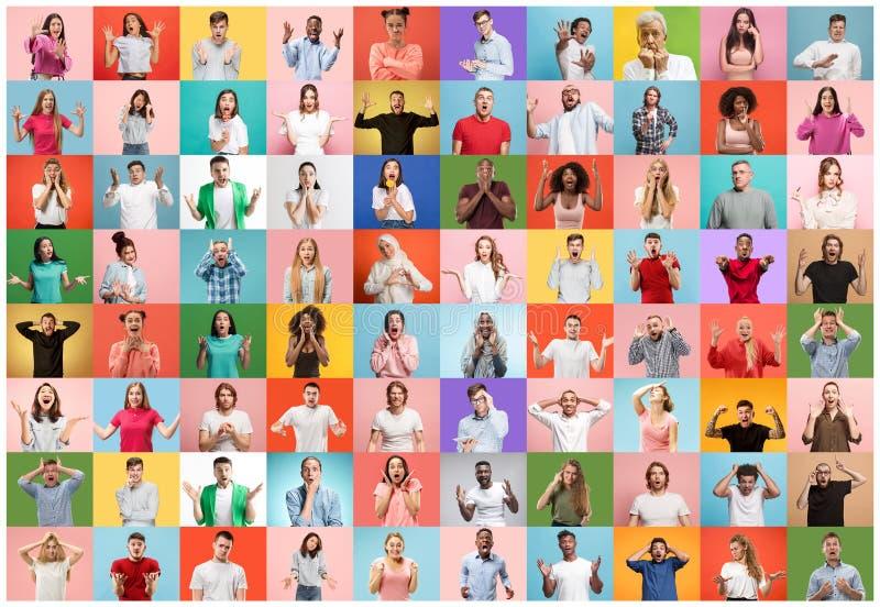 Le collage des personnes ?tonn?es image stock