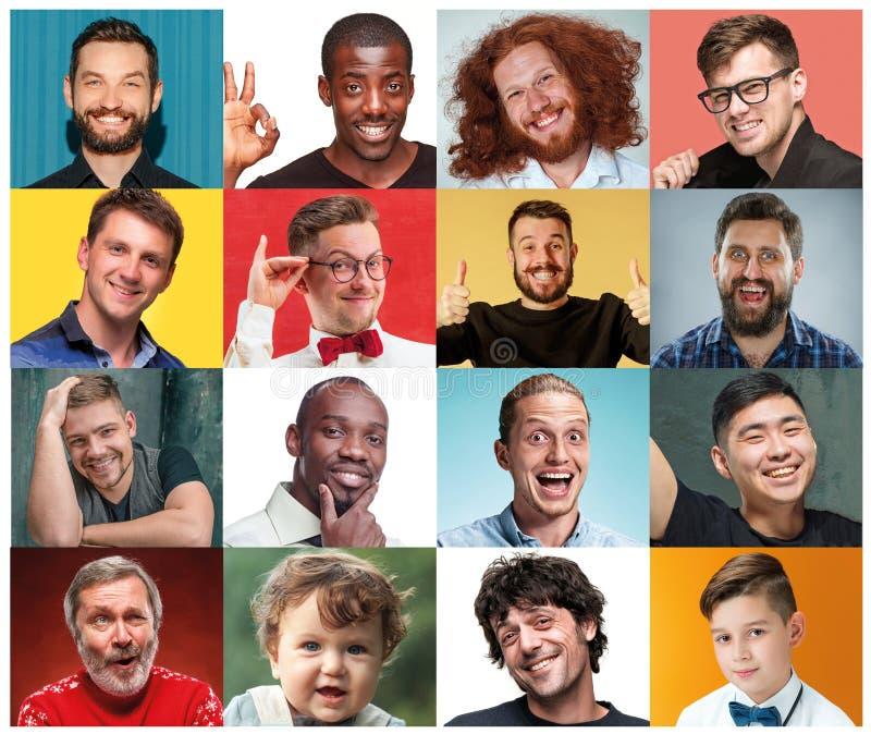 Le collage des portraits des femmes avec l'expression du visage de sourire photo libre de droits