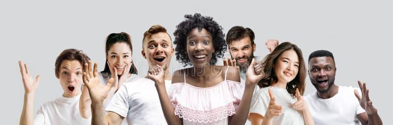 Le collage des visages des personnes étonnées sur les milieux blancs photo stock