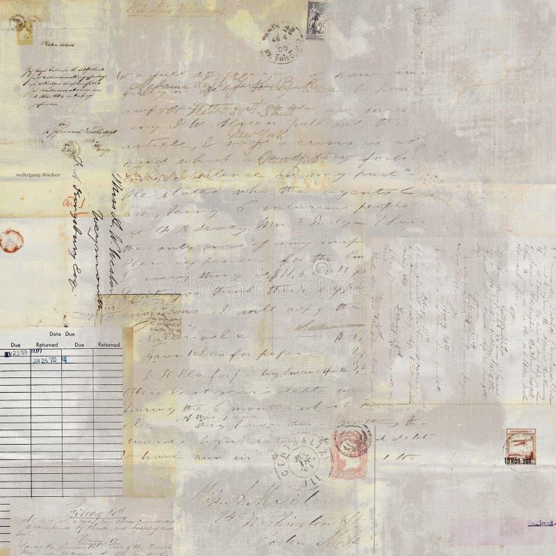 Le collage et le manuscrit sales antiques d'affranchissement textotent le fond image libre de droits