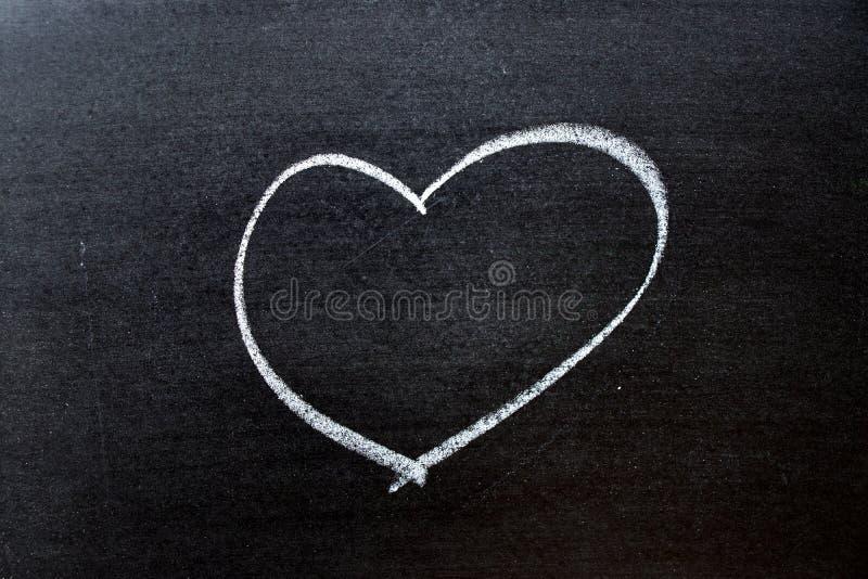 Le coloe blanc marquent le dessin ? la craie comme forme de coeur sur le fond de tableau noir avec l'espace de copie photos stock