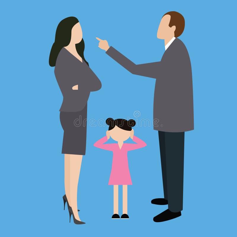 Le combat de couples de parent discutent l'argumentation dans l'enfant avant illustration de vecteur