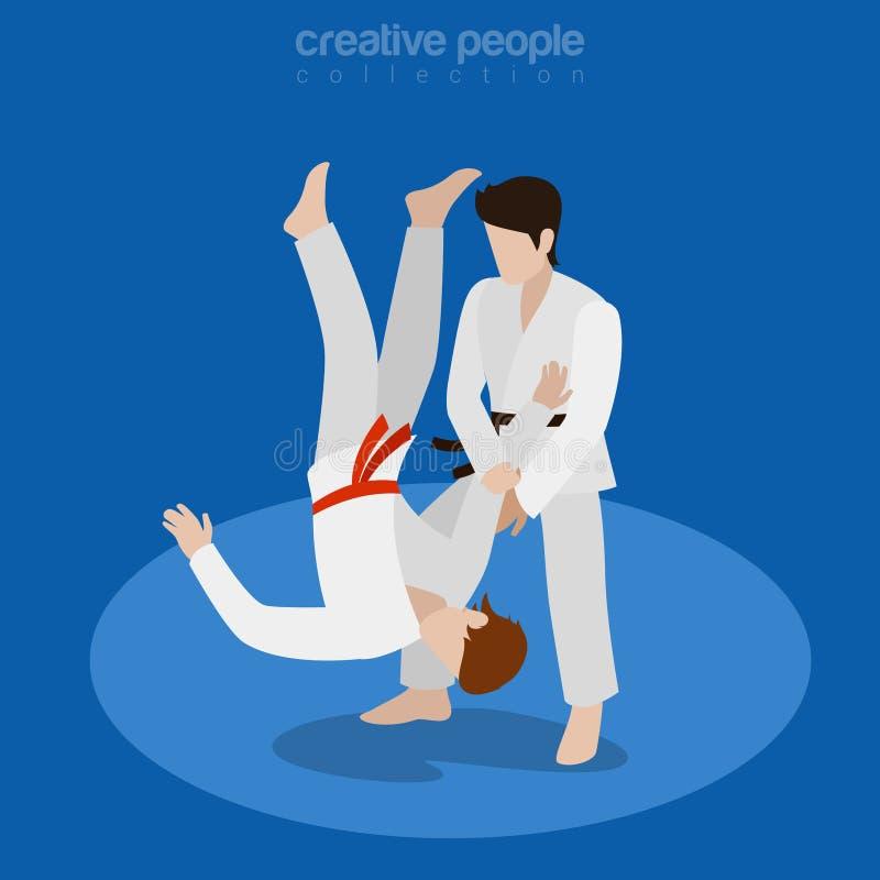 Le combat isométrique de karaté folâtre l'illus plat du vecteur 3d illustration stock