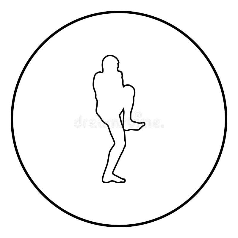 Le combattant chez l'homme de combat de jambe élevé par stancewith faisant des exercices folâtrent le colorin masculin de noir d' illustration libre de droits