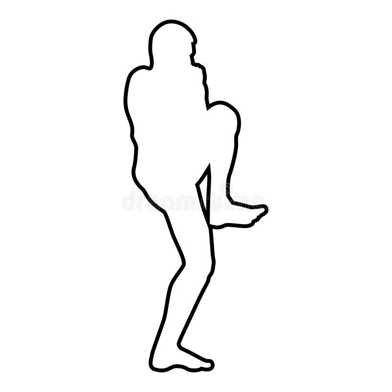 Le combattant chez l'homme de combat de jambe élevé par stancewith faisant des exercices folâtrent le contour masculin de noir d' illustration de vecteur