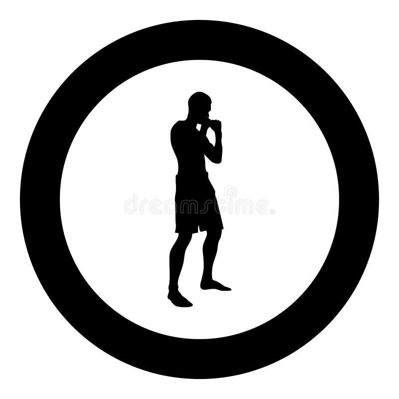 Le combattant chez l'homme de combat de position faisant des exercices folâtrent l'illustration de couleur noire de séance d'entr illustration stock