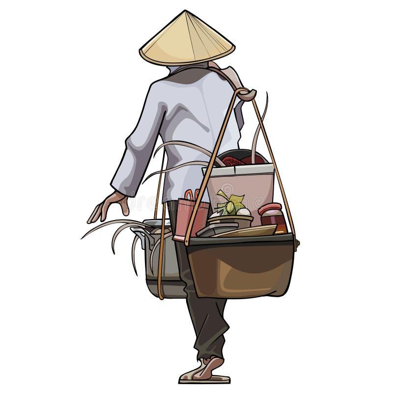Le commerçant vietnamien vient avec des pots sur le faisceau illustration stock