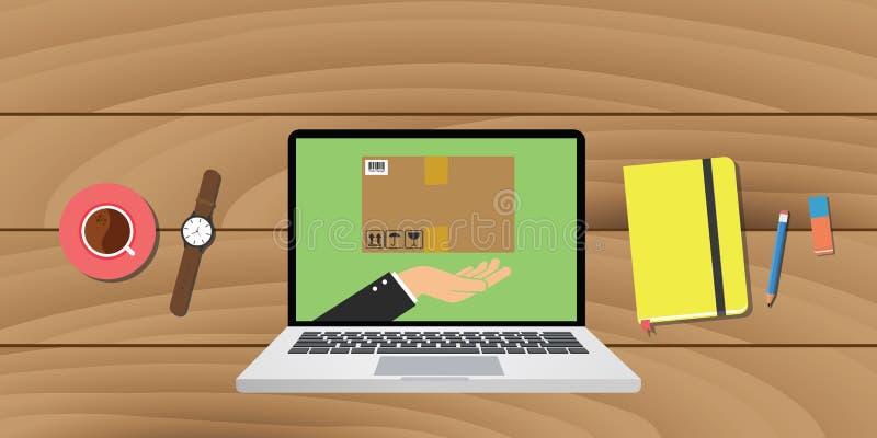 Le commerce électronique en ligne de la livraison avec l'ordinateur portable note le crayon illustration stock