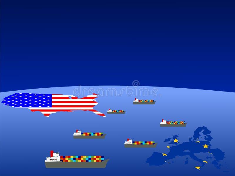 Le commerce d'Américain et d'UE illustration stock