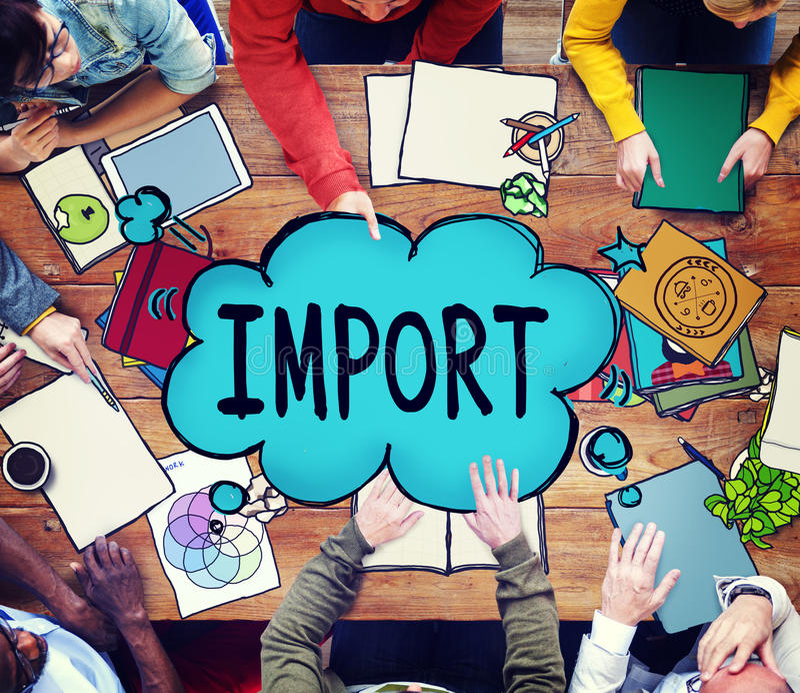 Le commerce d'importation fournissent le concept de fret d'expédition de transport image libre de droits
