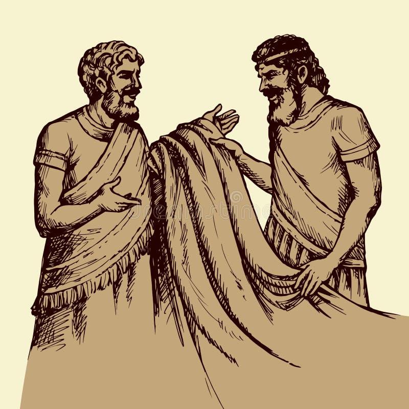 Le commerce de personnes antiques Retrait de vecteur illustration de vecteur