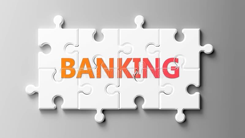 Le complexe bancaire comme un puzzle - représenté comme un mot Banking sur un puzzle pièces pour montrer que le secteur bancaire  illustration de vecteur