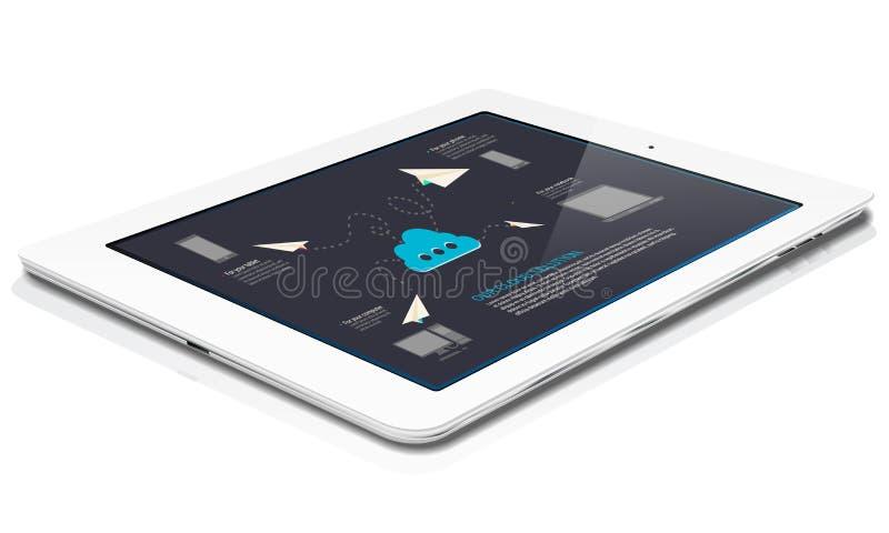 Le comprimé blanc avec les graphiques abstraits de nuage déplacent dessus illustration stock