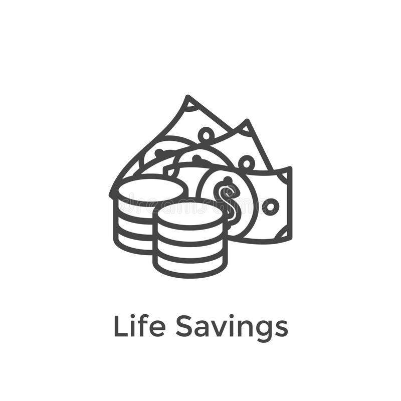 Le compte de retraite et l'icône de l'épargne ont placé le fonds commun de placement mutualiste de W, le Roth IRA, etc. illustration stock
