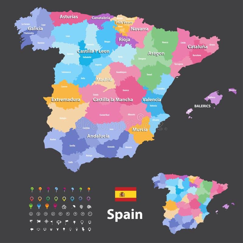 Le comunità e le province autonome vector la mappa della Spagna Icone di navigazione, di posizione e di viaggio illustrazione di stock