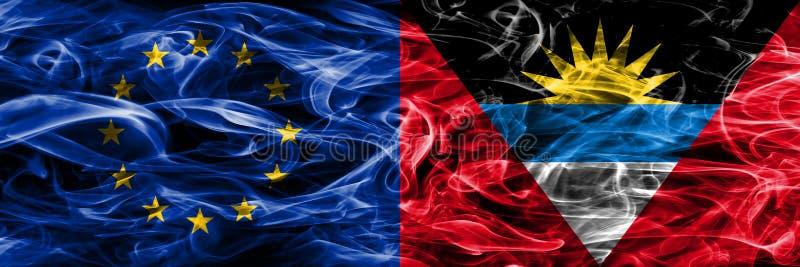 Le concept coloré des syndicats et de l'Antigua-et-Barbuda de l'Europe fument le drapeau illustration libre de droits