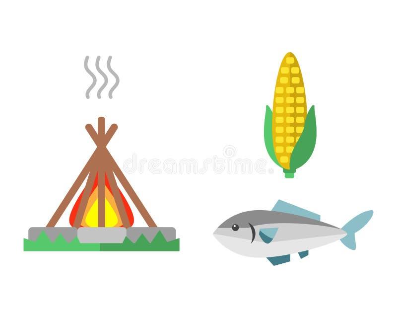 Le concept conçu indien occidental sauvage d'art traditionnel d'élément et la plume ethnique tribale indigène cultivent l'ornemen illustration libre de droits