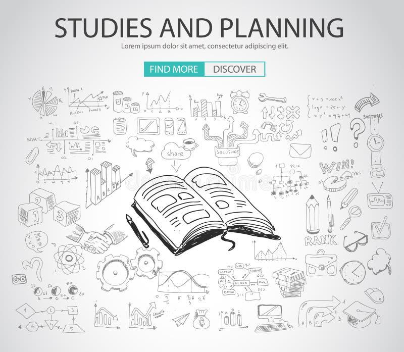Le concept d'études et de planification avec le griffonnage conçoivent le style illustration libre de droits