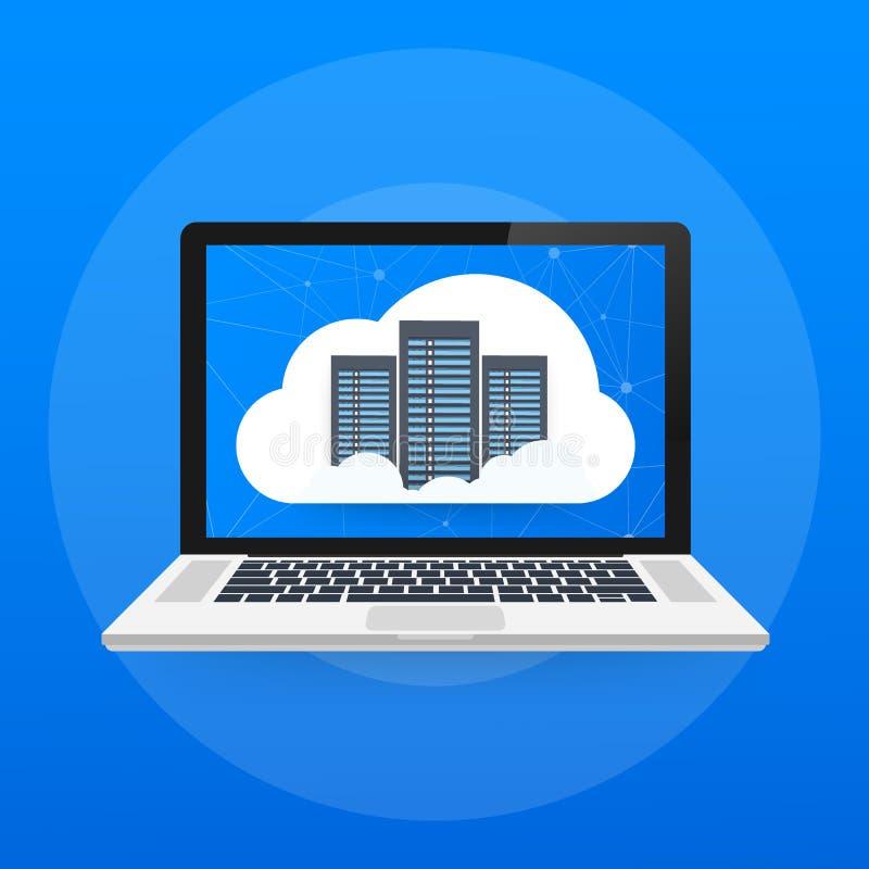 Le concept d'accueil de Web avec les icônes de calcul de nuage conçoivent Illustration de vecteur illustration stock