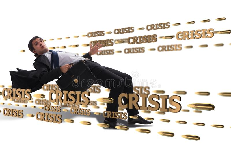Le concept d'affaires de la crise et de la récession photographie stock