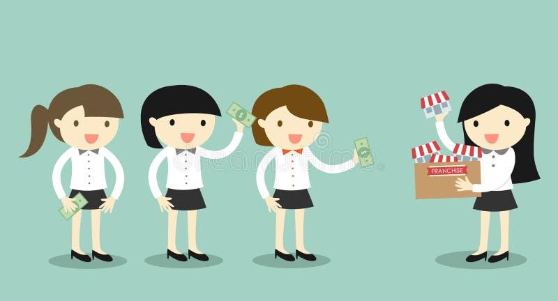 Le concept d'affaires, femme d'homme d'affaires vend sa concession/boutique à des autres femmes d'affaires illustration de vecteur