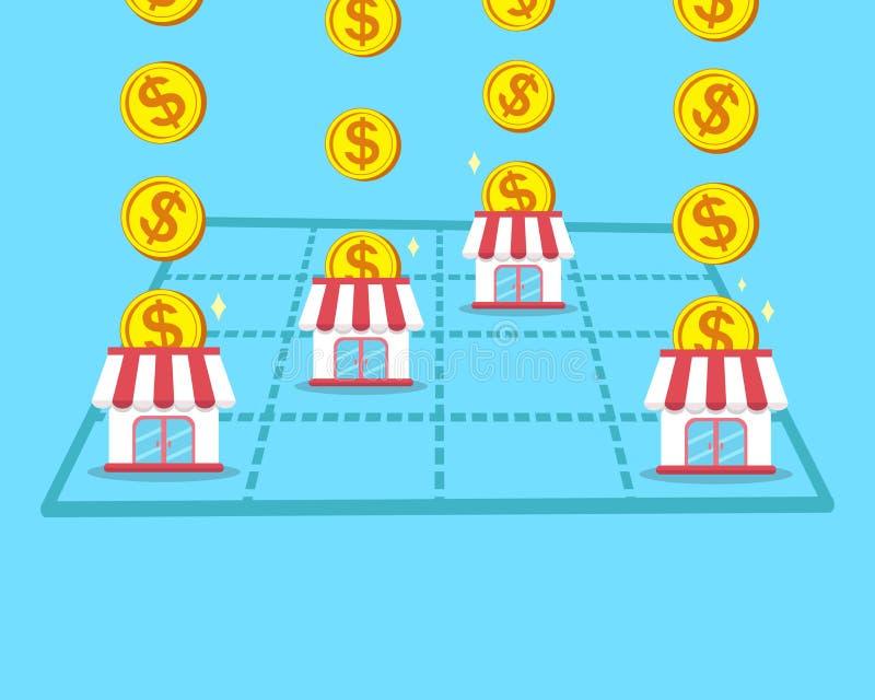 Le concept d'affaires gagnent l'argent avec le magasin de concession illustration libre de droits