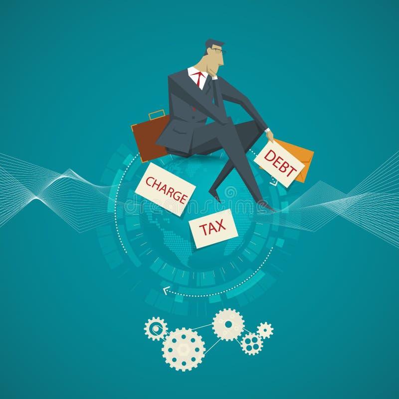 Le concept d'affaires, homme d'affaires s'asseyant sur le salaire morne est aucun illustration stock